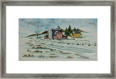 Winter Down On The Farm Framed Print by Charlotte Blanchard