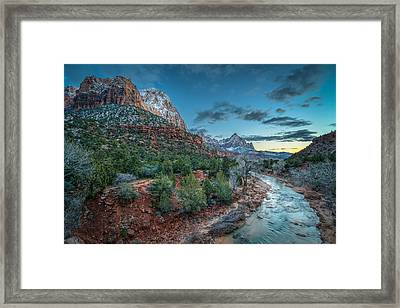 Winter Dusk At Zion National Park Framed Print by James Udall