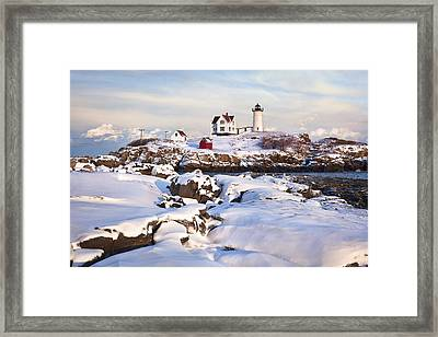 Winter Evening At Nubble Lighthouse Framed Print by Eric Gendron