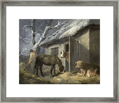 Winter Farmyard Framed Print by George Morland