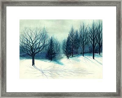 Winter Forest Skyline - Winter Blues Framed Print by Janine Riley