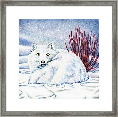 Camouflage Framed Print featuring the painting Winter Fox by Antony Galbraith