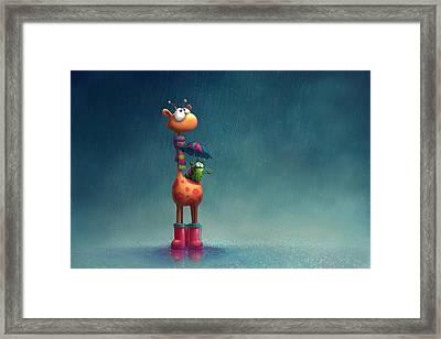 Winter Giraffe Framed Print by Tooshtoosh
