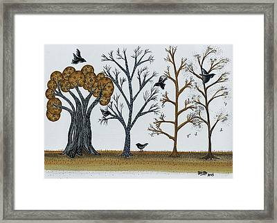 Blackbirds In The Winter Grove Framed Print by Graciela Bello