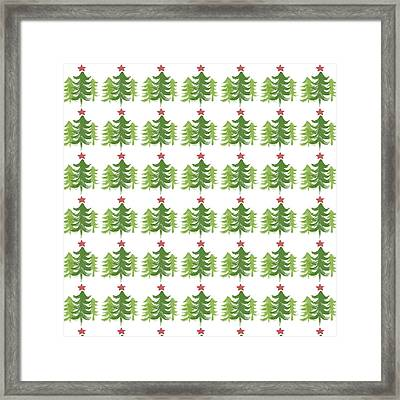 Winter Holiday Trees 1-  Art By Linda Woods Framed Print by Linda Woods