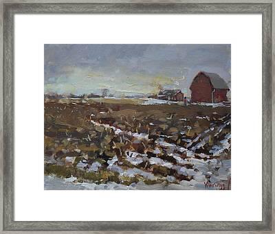 Winter In The Farm Framed Print by Ylli Haruni