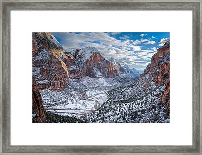 Winter In Zion National Park Framed Print by James Udall