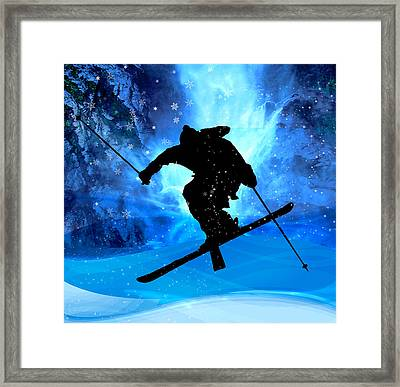 Winter Landscape And Freestyle Skier Framed Print by Elaine Plesser
