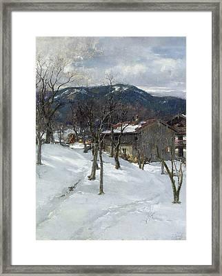 Winter Landscape Near Kutterling Framed Print by Johann Sperl