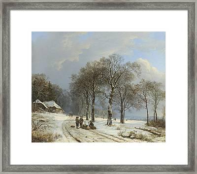 Winter Landscape Framed Print by Barend Cornelis Koekkoek