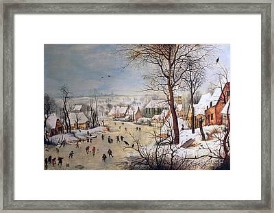 Winter Landscape With Birdtrap Framed Print by Pieter the elder Bruegel
