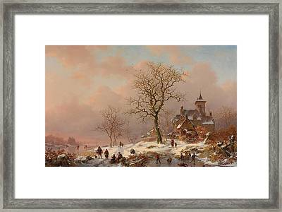Winter Landscape With Figures Playing On The Ice Framed Print by Frederick Marianus Kruseman