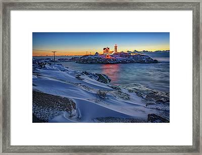 Winter Morning At Cape Neddick Framed Print by Rick Berk