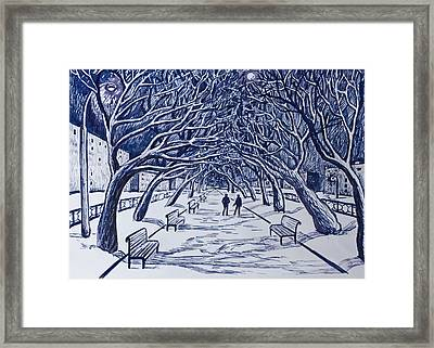 Winter Night.on The Walkway In The Park. Framed Print by Olga Goncharenko