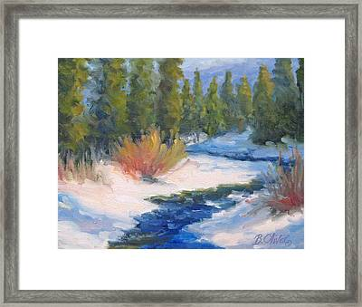 Winter On Gore Creek Framed Print by Bunny Oliver