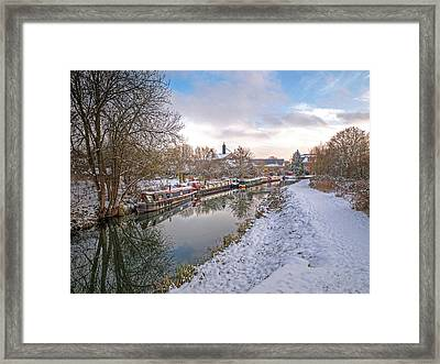 Winter Reflections On The River Framed Print by Gill Billington
