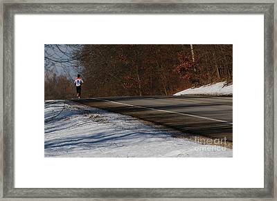 Winter Run Framed Print by Linda Knorr Shafer