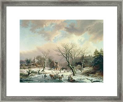 Winter Scene   Framed Print by Johannes Petrus van Velzen