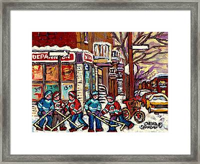 Winter Scene Hockey Painting Verdun Depanneur Kik Cola Bicycle Montreal Canadian Art Carole Spandau  Framed Print by Carole Spandau
