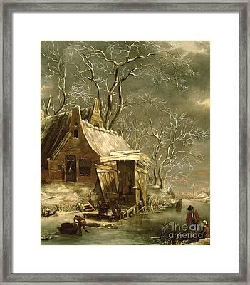 Winter Scene Framed Print by Jan Beerstraten