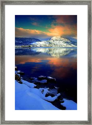 Winter Skies And A Snowy Shore Framed Print by Tara Turner
