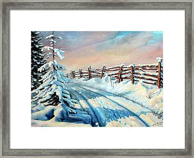 Winter Snow Tracks Framed Print by Hanne Lore Koehler