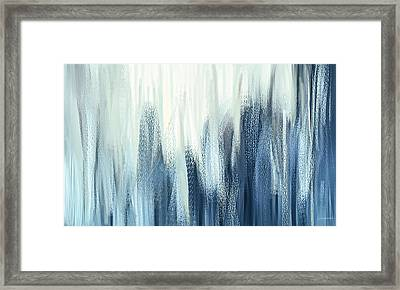 Winter Sorrows - Blue And White Abstract Framed Print by Lourry Legarde