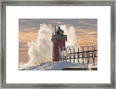 Winter South Haven Lighthouse Framed Print by Dean Pennala