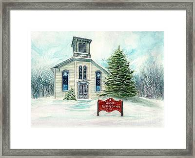 Winter Sunday Service - Country Church Framed Print by Janine Riley