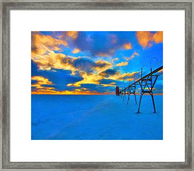 Winter Sunset At Saint Joseph Michigan Framed Print by Dan Sproul
