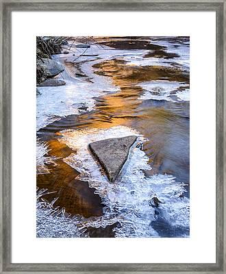 Winter Sunset On Oak Creek Framed Print by Joe Doherty