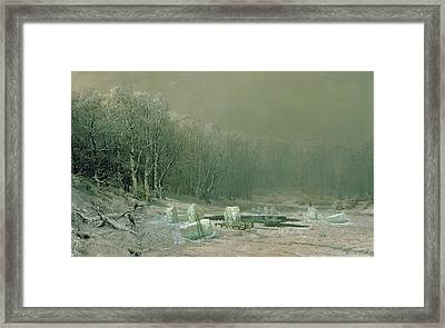 Winter The Laying Off Of Ice Framed Print by Arseniy Ivanovich Meshchersky