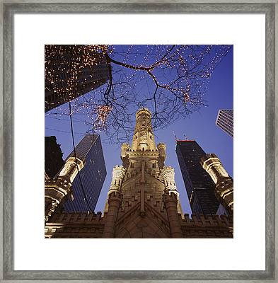 Winter Water Tower Chicago Il Framed Print by Panoramic Images