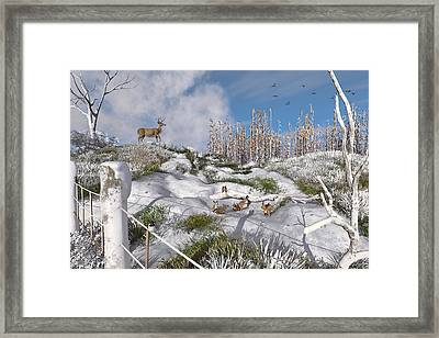 Winter Wonderland Bunnies Framed Print by Mary Almond