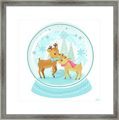 Winter Wonderland Snow Globe Framed Print by Little Bunny Sunshine
