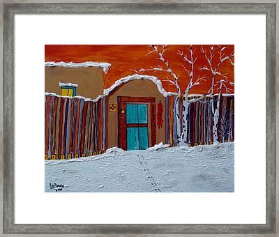 Winters Storm Santa Fe Nm Framed Print by Joseph Frank Baraba