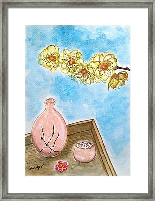 Wintersweet And Sake Framed Print by Jo lan Tao