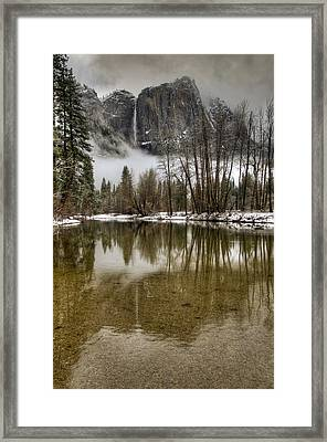 Wintery Upper And Lower Yosemite Falls  Framed Print by Connie Cooper-Edwards