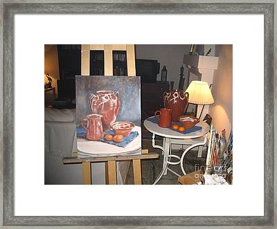 Wip Oil Painting Still Life Framed Print by Yvonne Ayoub