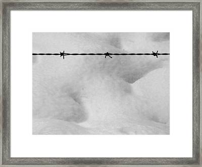 Wire Over Snow Framed Print by Mark Alan Perry