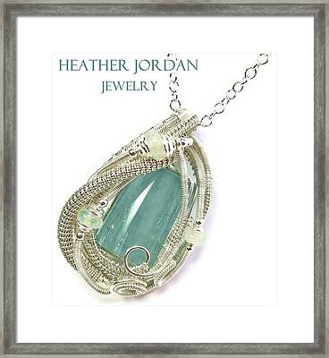 Wire-wrapped Aquamarine Crystal Pendant In Sterling Silver With Ethiopian Opals Aqpss2 Framed Print by Heather Jordan