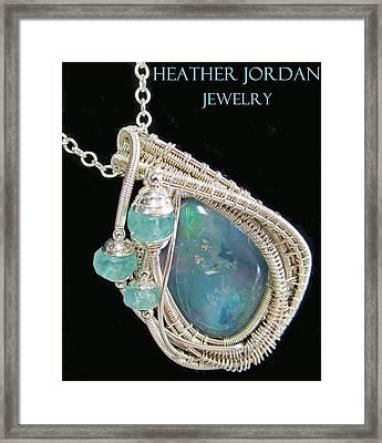 Wire-wrapped Australian Opal Pendant In Sterling Silver With Blue Apatite Abopss3 Framed Print by Heather Jordan