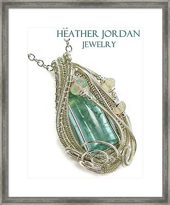 Wire-wrapped Natural Aquamarine Crystal Pendant In Sterling Silver With Ethiopian Opals Aqpss1 Framed Print by Heather Jordan