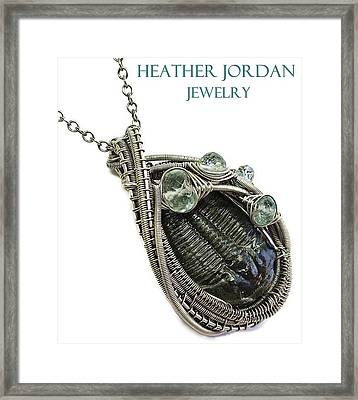 Wire-wrapped Trilobite Fossil Pendant In Antiqued Sterling Silver With Aquamarine Trilss8 Framed Print by Heather Jordan