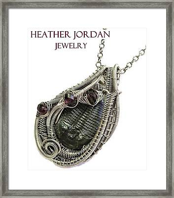 Wire-wrapped Trilobite Fossil Pendant In Antiqued Sterling Silver With Rhodolite Garnet Trilss7 Framed Print by Heather Jordan
