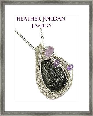 Wire-wrapped Trilobite Fossil Pendant In Sterling Silver With Amethyst Trilss10 Framed Print by Heather Jordan