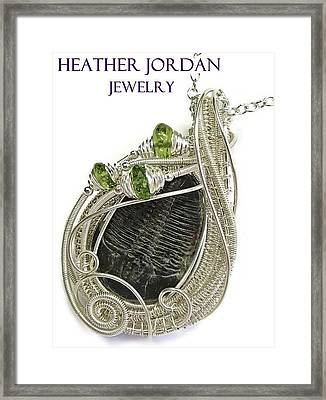 Wire-wrapped Trilobite Fossil Pendant In Sterling Silver With Peridot Trilss6 Framed Print by Heather Jordan