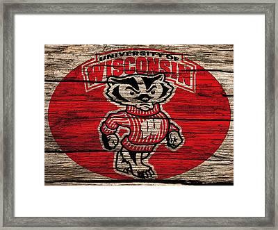 Wisconsin Badgers Barn Door Framed Print by Dan Sproul