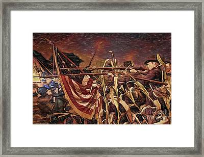 Wisconsin Black Hats At Antietam - Colored Pencil Framed Print by Tommy Anderson