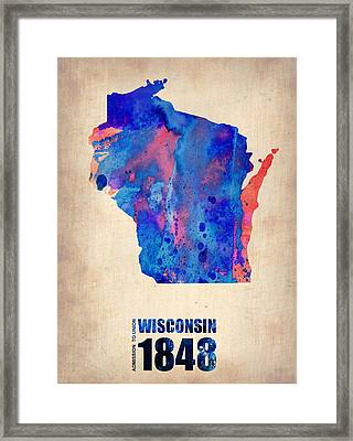 Wisconsin Watercolor Map Framed Print by Naxart Studio